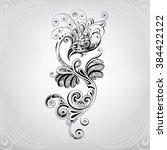 silhouette of a phoenix in an...   Shutterstock .eps vector #384422122