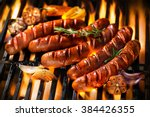 Grilled Sausage On The Flaming...