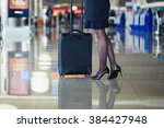 beautiful female passenger or... | Shutterstock . vector #384427948
