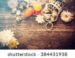 easter background on wooden... | Shutterstock . vector #384431938