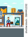 man waiting for bus. | Shutterstock .eps vector #384441232