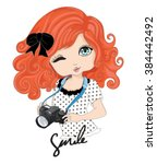cute girl t shirt graphics... | Shutterstock .eps vector #384442492