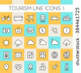 inline tourism icons collection | Shutterstock .eps vector #384461725