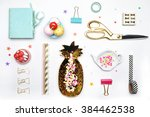 flat lay. accessories on the... | Shutterstock . vector #384462538