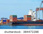 container stack and ship under... | Shutterstock . vector #384472288