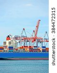 container stack and ship under... | Shutterstock . vector #384472315
