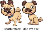 barking and happy pug dog.... | Shutterstock .eps vector #384495442