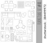 standard furniture symbols used ... | Shutterstock .eps vector #384499972