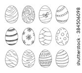 easter eggs set with abstract... | Shutterstock .eps vector #384506098