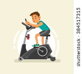a man exercising on stationary... | Shutterstock .eps vector #384517315