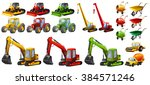 different tractors and... | Shutterstock .eps vector #384571246