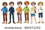men in different clothes design ... | Shutterstock .eps vector #384571252