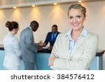 beautiful bank manager with... | Shutterstock . vector #384576412