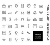 furniture outline icons for web ... | Shutterstock . vector #384577882
