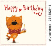 cute kitten with birthday cake  ... | Shutterstock .eps vector #384582946