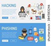 cyber crime horizontal banners... | Shutterstock .eps vector #384583246