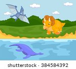 funny cute pterodactyl ... | Shutterstock . vector #384584392