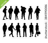people silhouettes vector | Shutterstock .eps vector #384590086