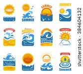 summer label set with waves...   Shutterstock .eps vector #384604132