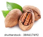 Pecan Nuts Isolated On A White...