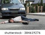 pedestrian hit by a car lying... | Shutterstock . vector #384619276