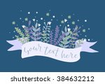 flowers with ribbon. hand drawn ...   Shutterstock .eps vector #384632212