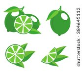 green limes with leaves.... | Shutterstock .eps vector #384645112