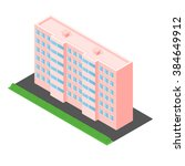 pink house in the isometric.... | Shutterstock .eps vector #384649912