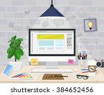 desktop graphic designer ... | Shutterstock .eps vector #384652456