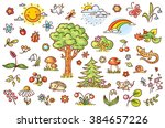 cartoon nature set with trees ... | Shutterstock .eps vector #384657226