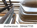 pipe in the blue sky background | Shutterstock . vector #384667735