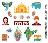 set of indian flat icons ... | Shutterstock . vector #384684496