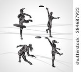 set of 4 female players are... | Shutterstock .eps vector #384687922