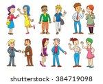 set of  people talking cartoon... | Shutterstock .eps vector #384719098