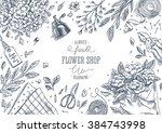 flower shop. linear graphic.... | Shutterstock .eps vector #384743998