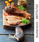 Roast Turkey Drumstick On A...