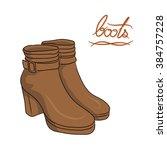a pair of brown modern boots ...   Shutterstock .eps vector #384757228