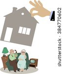senior couple losing their... | Shutterstock .eps vector #384770602