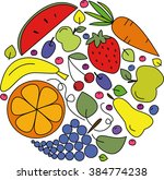 vector collection of fruits ... | Shutterstock .eps vector #384774238