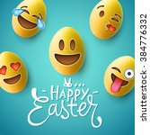 happy easter poster  easter... | Shutterstock .eps vector #384776332