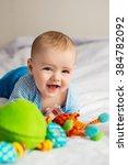 little baby laughs | Shutterstock . vector #384782092
