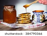 russian maslenitsa  pancakes on ...   Shutterstock . vector #384790366