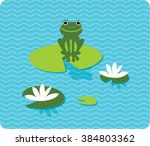A Frog Sitting On Lily Pad On...