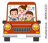 family rides in car with music | Shutterstock .eps vector #384814222