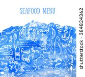 vector seafood background.... | Shutterstock .eps vector #384824362