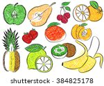 contour fruits. isolated vector ... | Shutterstock .eps vector #384825178