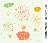balloons and a basket with... | Shutterstock .eps vector #384844258