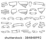 ribbons doodle vector. set of...