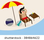businessman relaxes on the... | Shutterstock .eps vector #384864622