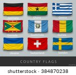 wave country flag with shadows... | Shutterstock .eps vector #384870238